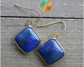 SALE!Lapis Lazuli Earrings, Gemstone Earrings, Blue Crystal Earrings, Genuine Lapis Lazuli Jewelry, Square Earrings,square drop earrings