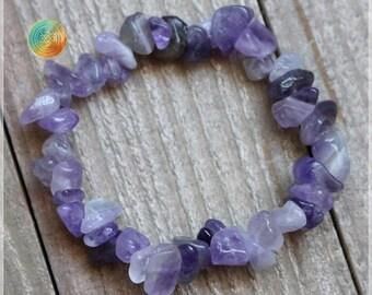 Amethyst Bracelet, Genuine Amethyst Bracelet, Womens or Mens Bracelet, Beaded Chip Gemstone Stretch , Amethyst bracelet, Gemstone Chips