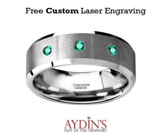 Green Emerald Wedding Ring - Tungsten Ring - Silver Tungsten - Beveled Edges - Brushed Tungsten - 3 Emeralds - Tungsten Wedding Band
