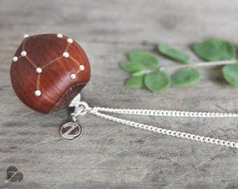 Sagittarius zodiac sign / Wooden hazelnut necklace / real hazelnut / fairy tale jewellery / nature lover gift / star sign / engraved