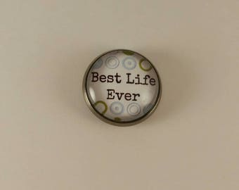 "JW Men's Tie Tac ""Best Life Ever."" Blue and green target background. Jw menswear accessories, jw item, jw gift"