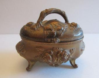 Antique Dresser Trinket Jewelry Box Casket Rose Flower Art