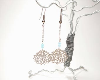 Matte Silver Chrysanthemum Earring - Frosted Pale Blue Faceted Glass Beads