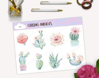 D109 | Pastel watercolour succulents sticker | succulents bullet journal stickers | watercolour cactus sticker | watercolour plant sticker