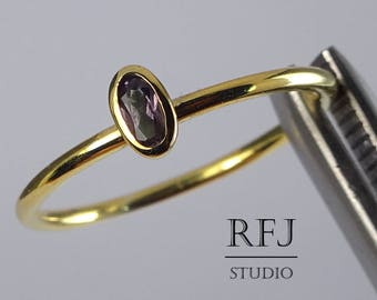 Gold Plated Oval June Birthstone Synthetic Alexandrite Silver Ring, Stacking 14K Yellow Gold Plated Alexandrite Ring, Oval Gemstone Ring