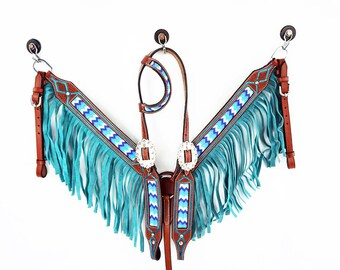 One Ear Western Barrel Trail Horse Beaded Turquoise Fringe Headstall Leather Bridle Breast Collar Tack Set
