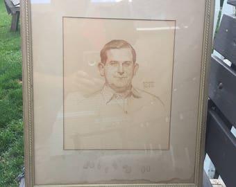 Original ARNOLD FRIBERG  Sketch - Graphite Sketch during World War 2 - War Art