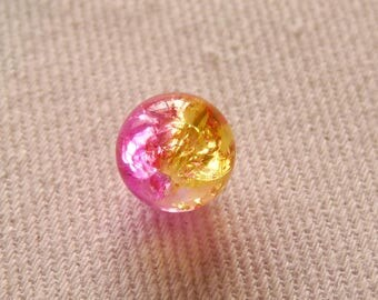 10x Crackle Glass Beads, 8mm Marbles Cracked Glass Beads, Hot Pink & Yellow Crackled Glass Beads, Double Color Beads, Beading Supplies