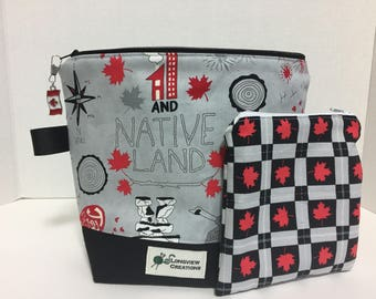 Limited Edition, Wedge Bag, Knitting Project Bag, Sock Size, Canada 150, notion pouch