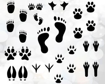 Paw print SVG Files - Paw Clipart SVG - Paw Cut Files - Paw Cricut Svg - Footprint Silhouette Svg - Footprint svg, png, dxf, eps - Paw print