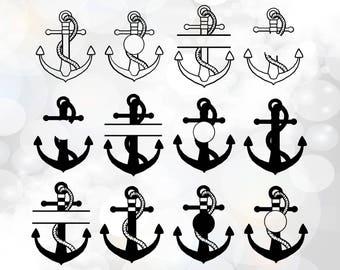 Anchor Svg cut files, Anchor monogram svg cut file bundle, Split monogram Anchor, Anchors Instant Download, Anchors Split-monogram Svg Files