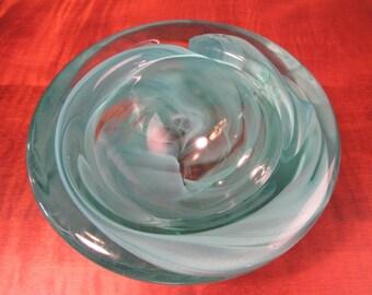 Blue/green glass bowl by Kosta Boda