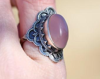 Bali Inspired Vintage Rose Quartz Sterling Silver Ring Size 6.5