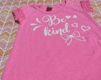 """Size 24 month Neon Pink Cotton T shirt Dress with """"BE KIND"""" and graphics in white HTV"""