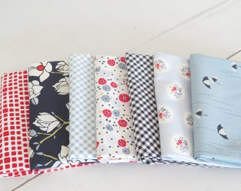 7 fat quarters from Art Gallery Fabric Charleston andLes Petit collection from Amy Sinibaldi, cotton fat quarters