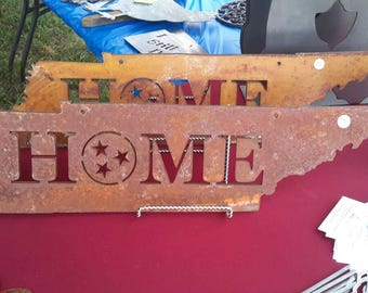 "Tennessee Home with Tristar, rusted and clearcoated, 6-3/4"" tall x 28"" wide, with mounting holes, CRS."