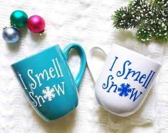 I Smell Snow Mug - Gilmore Girls Inspired Mug - Lorelai Gilmore Quote - Blue Mug - White Mug - 12oz Coffee or Tea Mug - Winter Mug