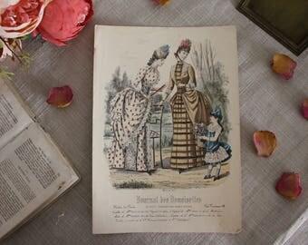 Antique French Fashion Print - Journal des Demoiselles - 19th Century
