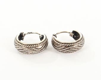 Sterling Silver Small Oxidised Earrings with A Wave Design