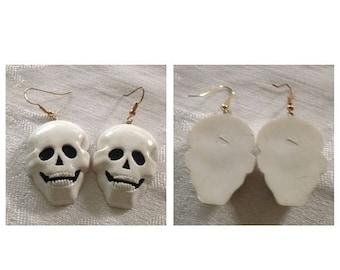Anniversary Sale Vintage 70's Halloween Skull Earrings