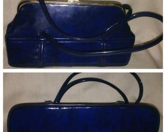 Anniversary Sale Vintage Blue Patent Leather Purse