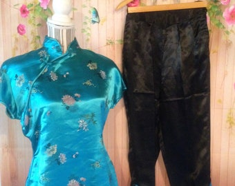 Vintage Satin Asian Inspired Top and Capri Pants