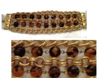 Goldtone and Faux Tigerseye Chain Bracelet