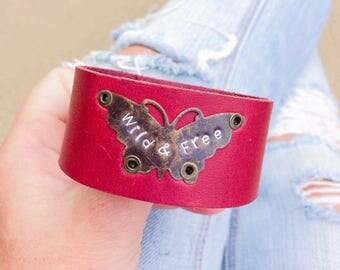 Leather cuff bracelet, Wrist Cuff, Butterfly Jewellery, Butterfly Bracelet, Butterfly jewelry, Leather anniversary gift, Friendship Bracelet