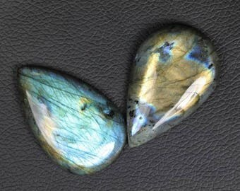 2 piece Pear shape smooth LABRADORITE cabochons, 7 x 32 x 50 -- 9 x 33 x 50 mm