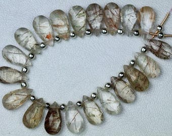 Nice, 20 piece Faceted Pear COPPER RUTILE briolette beads 9 x 17 mm approx, natural rutile, copper rutilated, wholesale, best, rutile, sale