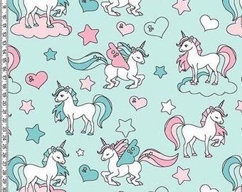 Unicorns on mint french terry jersey knit fabric