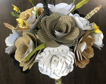 Eighteen Flower Custom Paper Rose Bouquet, You Pick Colors and Books