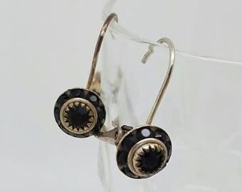 Vintage silver garnet lever back earrings