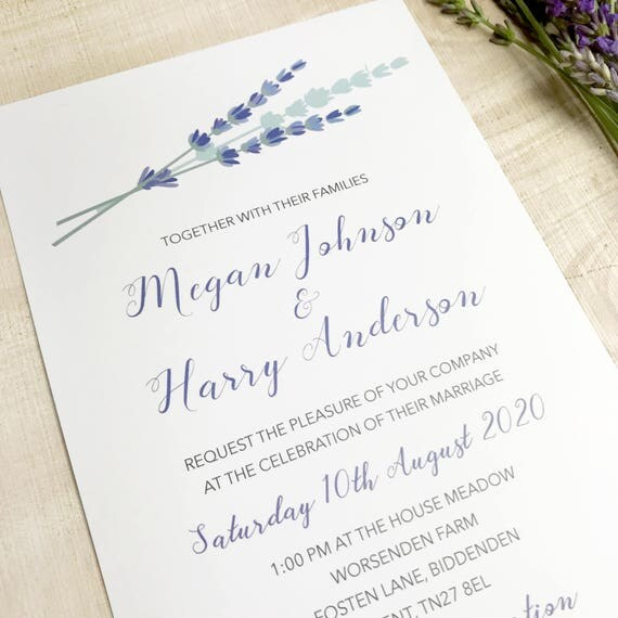 Summer wedding invites, Country wedding invitation, Lilac wedding invitation, Rustic wedding invites, Affordable wedding invites, A5