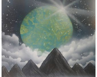 Planetary Eclipse-Spray Paint Art