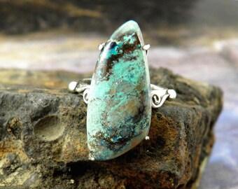 Azurite ring, boho ring, sterling silver ring, unique ring, girlfriend ring, bohemian ring, gemstone ring, boho jewelry, gypsy ring