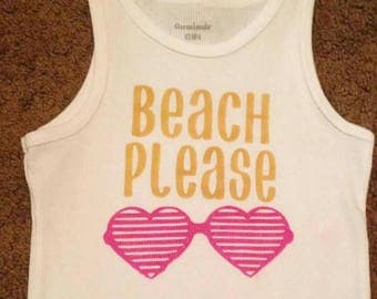 Beach please girls airbrushed shirt