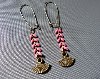 Pink enameled ear chain Earrings