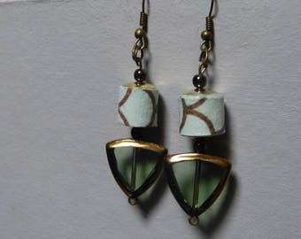 Loop earrings Summer paper & glass triangle