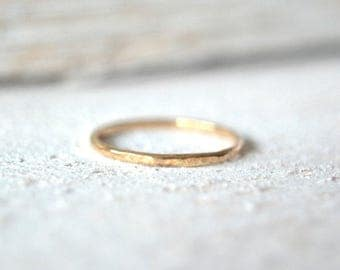 14k Solid Gold Stacking Ring. One Stackable Ring, Stacked Ring, Skinny Stacking Ring, Stacking Rings, Solid Gold Ring, 14k Solid,Stack Rings