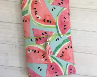 Made to Order Travelers Notebook Cover - Fabric Dori - Faux Dori - Watermelon
