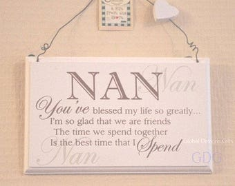 Nan Sign Plaque Nan You've Blessed My life So Greatly Birthday Gift F0847A