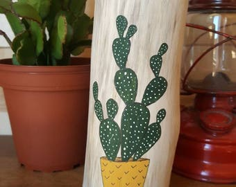 Chandelier painted cactus by hand, the Loleries, Cactus, home Deco, Chandelier