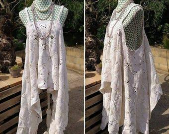 Bohemian beach dress in handmade crochet. Maxi beach tunic festival hippie gypsy boho. Stevie Nicks style sunbathing dress, Magnolia pearl.