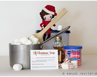 Elf Makes Christmas Soup, Elf Funny Idea, Christmas Elf Accessories, Santa's Elf Prop, Elf Printable, Christmas Elf Ideas, Easy Elf Ideas