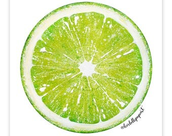 Kitchen wall art, kitchen wall decor, lime print, kitchen gift, lime green art, lime green decor, green kitchen print, fruit print fruit art