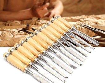 12 Pcs Wood Carving Hand Chisel Set Woodworking Professional Lathe Gouges Tools (US ONLY)