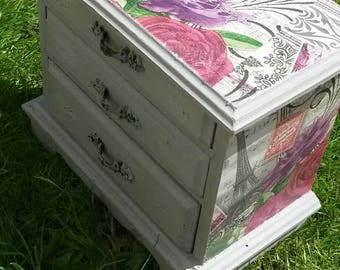 Jewelry box mini chest of drawers shabby chic jewellery box grey distressed aged hand painted decoupage mini chest of drawers Paris