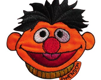 Patch / patch - Sesame Street Ernie laughing comic kids - orange - 7, 7 x 7, 3 cm - patch application applications to the iron application patches patch