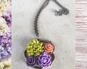 Summer/Fall inspired bouquet necklace; SALE!; gunmetal hypoallergenic chain; silver rose pendant; resin cabochon flowers; handmade necklace